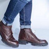Мужские зимние кожаные ботинки 16741