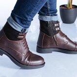 Мужские зимние кожаные ботинки 17027