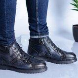 Мужские зимние кожаные ботинки 16743