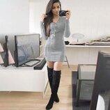 Стильное платье туника со шнуровкой