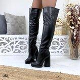 Женские зимние кожаные сапоги ботфорты