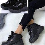 Зимние теплые черные кроссовки ботинки в стиле Fila на платформе р. 37-38, 24см