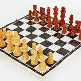 Шахматные фигуры деревянные с полотном для игр 4930 дерево, высота короля 9см