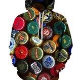 Стильный 3D свитшот с капюшоном унисекс 14 расцветок пиво, гамбургер, кола, конопля, череп