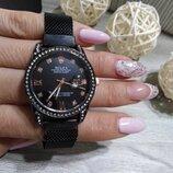 Женские наручные часы Rolex Date Just, Ролекс чорный цвет, на магните