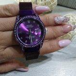 Женские наручные часы Rolex Date Just, Ролекс фиолетовый цвет, на магните