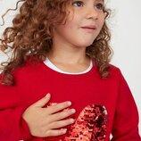 Джемпер красный/сердце/реверсные пайетки H&M для девочек 2-4,4-6,6-8,8-10 лет