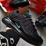 Как оригинал. Кроссовки мужские Nike Air Max AM720-818 черно-берюзовыее Зима KS 1349