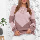 Вязаный стильный двухцветный женский свитер 163МА. 5-цветов