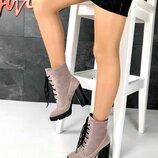 код 2315 Демисезонные ботиночки Натуральная замша , внутри флис, цвет - Визон каблук 11см подошва 2,