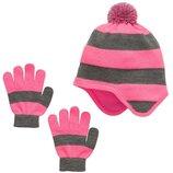 Комплекты шапочка и перчатки для девочек 7-12 лет. розовый Сша