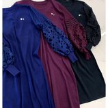 Платье трикотаж рукава кружевные разные цвета