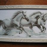 Вишита картина Білі коні