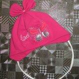 Хлопковая шапочка шапка с бантиком бабочкой и стразами Аnna р. 48