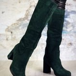 Код 6341 Сапоги на устойчивом каблуке. Натуральная замша , еврозима мех по щиколотку . Каблук 8,5