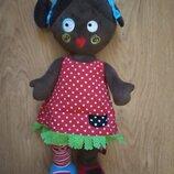 Мягкоеабивная кукла негр мулатка
