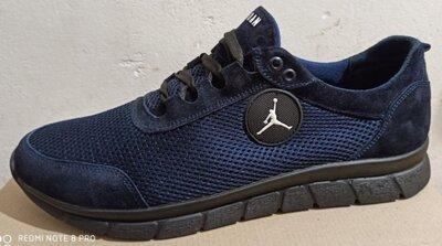 46-50 р Jordan синие кроссовки мужские летние с сеткой и кожей большого размера Джордан