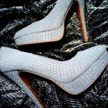 Туфли клубные кристаллы Сваровски лодочки шпилька