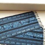 Плотный хлопковый шарф синий