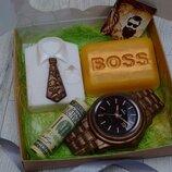 Набор мыла для мужчин, мыло Босс, часы, рубашка