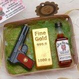 Набор мыла для мужчин, Виски, слиток золота, пистолет