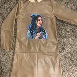 Платье для девочки с эко кожи на тканевой основе дет