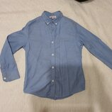 Рубашка голубая 8 лет, рост 128 см