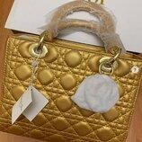 Сумка Lady Dior натуральная кожа в золотом цвете