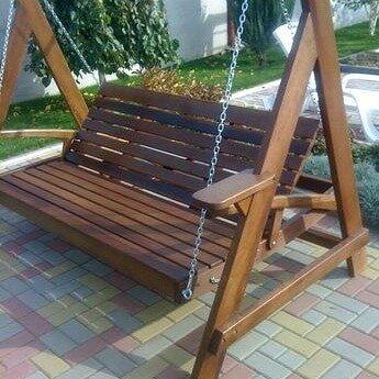 Широкие деревянные качели иассива с Дуба для вашого сада.