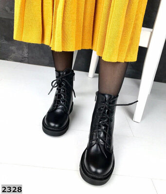 Демисезонные ботинки из натуральной кожи 36-41 р чёрный Dr. Martens Мартинсы Деми ботиночки