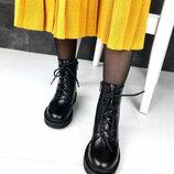 2328 Демисезонные ботинки из натуральной кожи 36-41 р чёрный Dr. Martens Мартинсы Деми