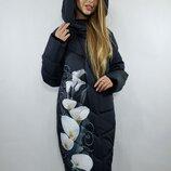 Зимнее пальто Лорис - цветы батал. Размеры 50,52,54,56,58,60.