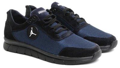 Новинка 46-50 р Jordan кроссовки мужские летние Джордан с сеткой и кожей большого размера черные