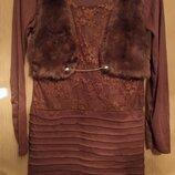Платье с имитацией жилетки с длинным рукавом
