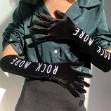 Бархатные перчатки длинные женские с вышитым буквенным принтом винтажные