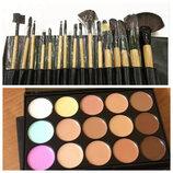 Набор для макияжа корректор 15 цветов кисти 16 штук в чехле