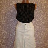 Юбка белая, джинсовая в складку, размер 8-10 Zara