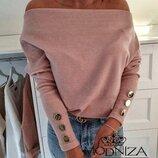 Трикотажная женская стильная кофта с открытыми плечами Лори