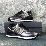 Серебристые женские кроссовки оригинал new balance 574 dark silver wl574wnf