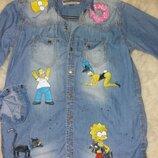 Джинсовая рубашка р.с ручная роспись Симпсоны