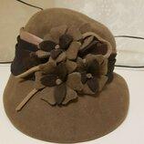 Шляпка фетровая коричневая