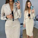 женский вельветовый костюм юбка и пиджак лд 222