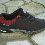 мужские кроссовки сетка 41-46р черные с красным