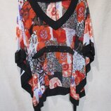 Яркая шифоновая блуза/принт цветы/пляжная
