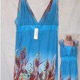 Яркое шифоновое платье-сарафан комбинированное с трикотажным/батал/принт перья