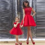 Платье мама дочка фемели лук с пышными фатиновыми юбками и гипюровым верхом