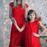 Платье мама дочка комплект гипюровый с крылышками