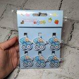 Декоративные прищепки Baby Shower Коляска, голубые, 6 шт