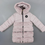 Зимняя куртка пальто с мутоном для девочек Венгрия Размеры 134,140,146