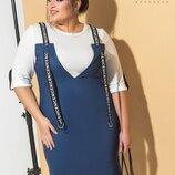 платье обманка 7200 стрейч джинс Коттон и двунитка джинс хаки черный